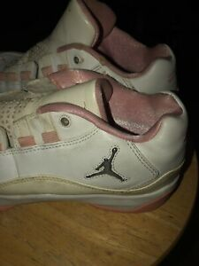 """Details about Jordan Flight 23 Girls White /Pink Silver MJ Quote """"Nothing Of Value"""" Size 6Y"""
