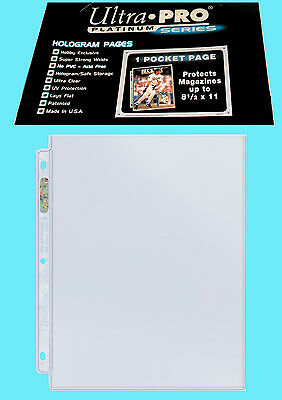 "50 ULTRA PRO PLATINUM 1-POCKET 8.5x11 Pages Sheets Protectors Binder 8-1//2/""x11/"""