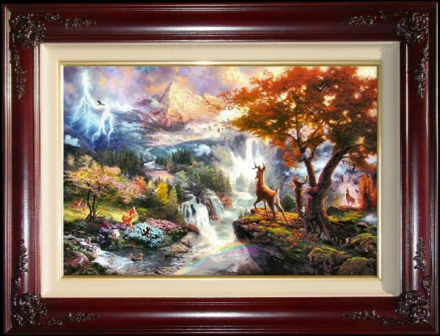 Thomas Kinkade Bambi's First Year S/N 24x36 Framed Limited Edition Canvas Oil