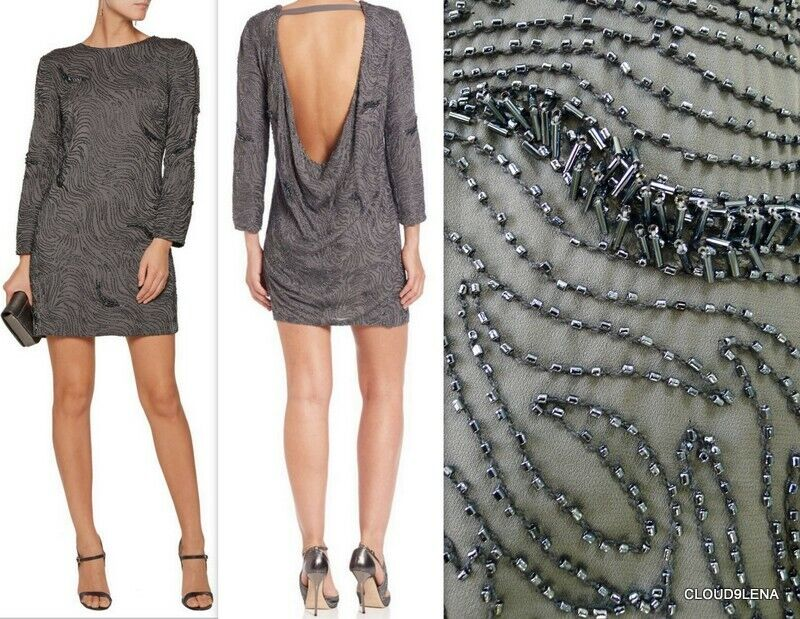 NWT  HALSTON Heritage Größes 10 12 Open Back Beaded Embroidery Shift Dress