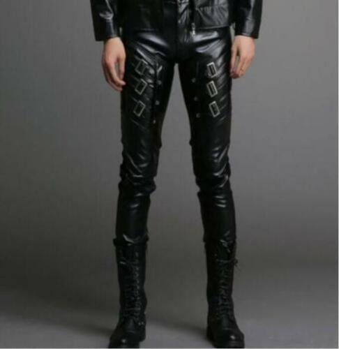 New korean Mens Pu Leather Motorcycle Buckle Gothic Punk casual Slim Pants