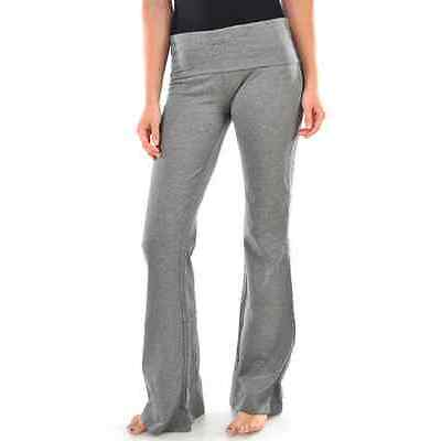 Women's Soft Yoga Fold Over Pant Comfy Cotton Spandex Lounge Gym Sports Athletic