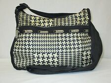 Le Sportsac Houndstooth Herringbone Classic Hobo Crossbody Bag Handbag Purse