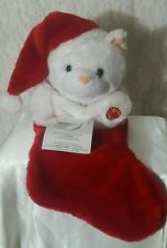 Musical Animated Christmas Stocking Plush Cat Lights Up Still Works See Video