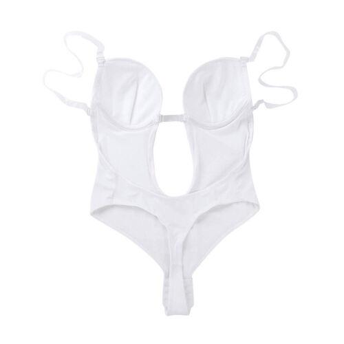 Women Slim Romper Push Up Bra Plunging V-Neck Backless Thong Shapewear Bodysuit