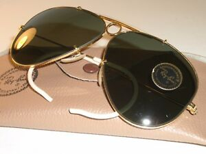 ebc5d0726d CIRCA 1960's B&L RAY-BAN GOLD PLATED BULLET HOLE SHOOTER AVIATOR ...