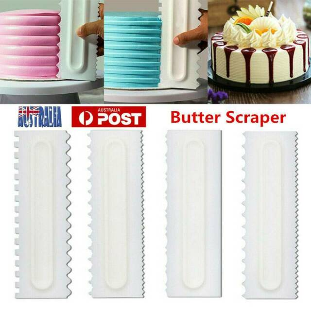 4Pcs Cake Decorating Comb Icing Smoother Scraper Pastry Baking DIY Kitchen Tool