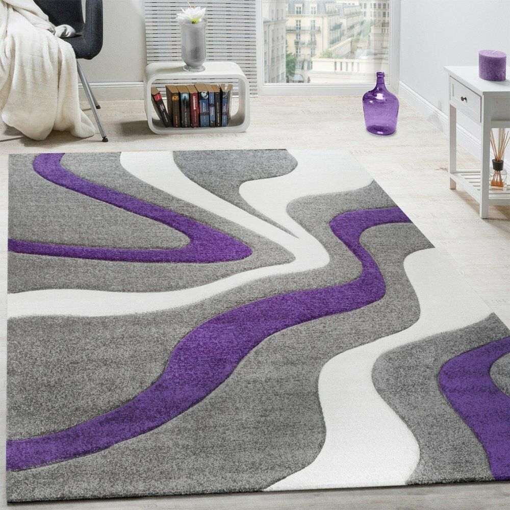 Modern Abstract Gris Tapis Violet Blanc Vague Grande Mat Small X Grande Vague chambre Hall Tapis 20114a