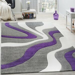 Grey Purple Rug Abstract Wave Pattern