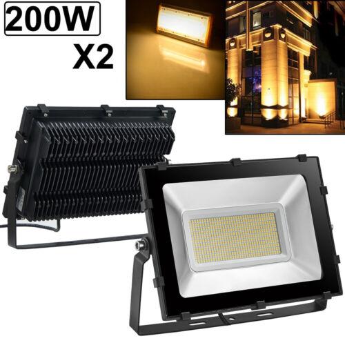 2X 200W LED Flood Light VIUGREUM Warm White Outdoor Spotlight Garden Yard Lamp
