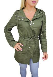 Attrayant ... Veste Manteau Trench Femme Vert Veste Long Impermeable