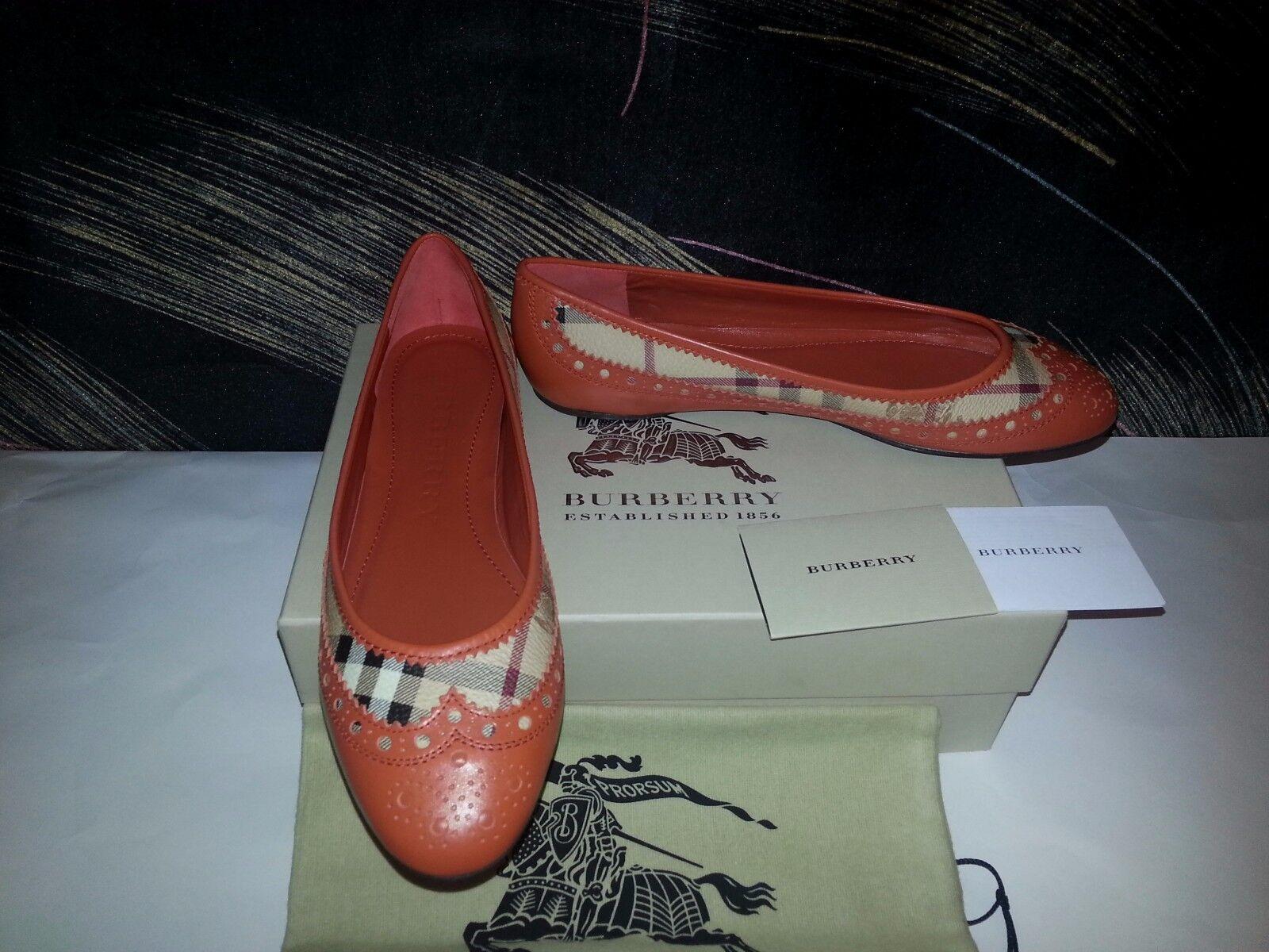 NIB Burberry London Classic Signature Check Plaids Leather Flats 39 8.5 New