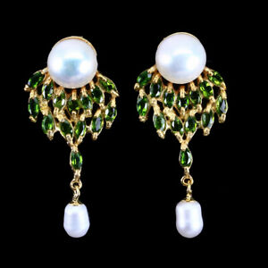 Unheated-Marquise-Chrome-Diopside-4x2mm-White-Pearl-925-Sterling-Silver-Earrings
