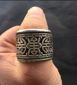 Old-Chinese-China-Miao-silver-longevity-Revolving-Men-039-s-Style-finger-Ring