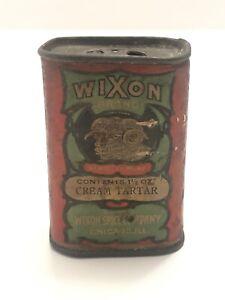SCARCE Antique Wixon Brand Spice Company 1 1/2oz Cream Tartar SPICE TIN CHICAGO