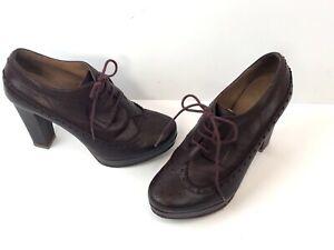 Sessun alto Scarpe 37 Leather Womens pelle in con Oxblood All 4 Scarpe tacco fSwadf