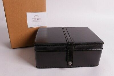 Nib Pottery Barn Saddle Leather Cuff Link Box Black Men