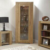 Padova solid oak furniture glazed door bookcase display cabinet