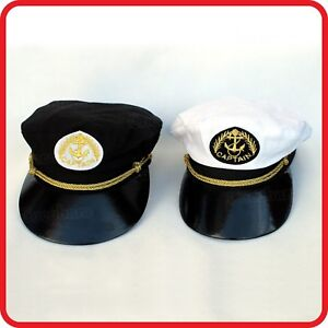 ee2009b9a71ca Image is loading KIDS-CHILDREN-WHITE-BLACK-CAPTAIN-HAT-PILOT-AIR-