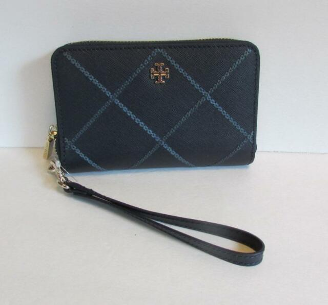 ee8861054ce Tory Burch Robinson Stitched Smartphone Wallet wristlet Navy Comet leather  blue