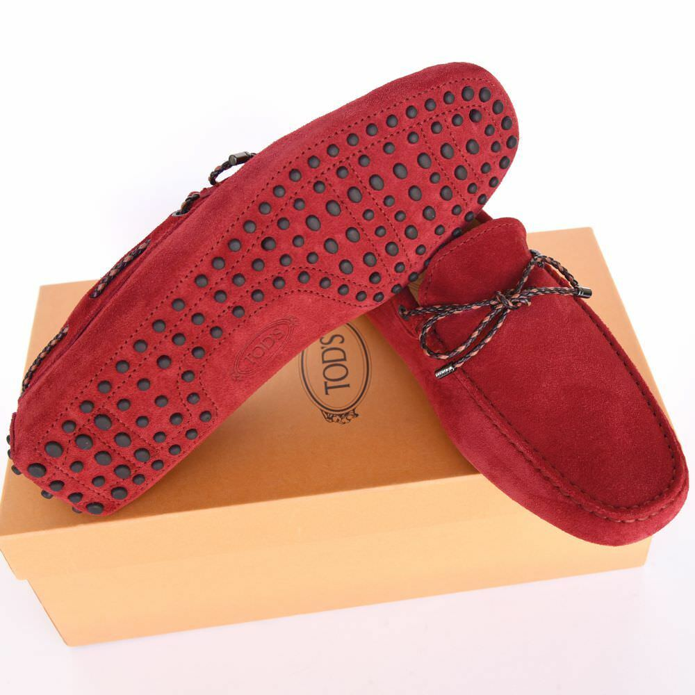 TOD'S Tods New sz US 8.5 Auth Designer Uomo Drivers Loafers Scarpe red