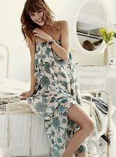 NEW Free People IFP green white Floral Chiffon Ruffled Midi Maxi Slip Dress XS