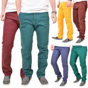 Mens-Chinos-Pantalones-Slim-Fit-Pantalones-vaqueros-Comodo-Algodon-Dobladillo-Abierto-Todas-Las