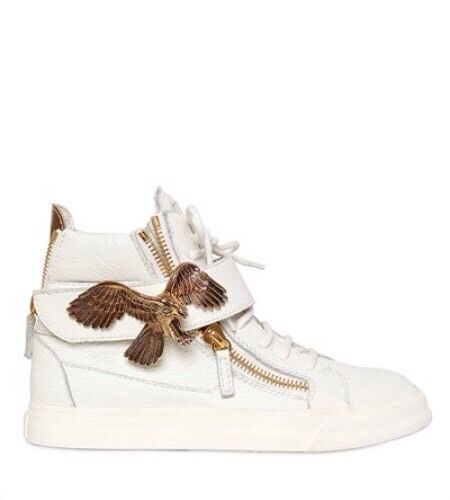 Authentic Giuseppe Zanotti White Leather gold Eagle High Top Sneakers 38.5 8.5