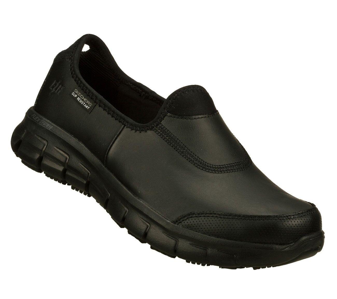 Skechers Women Work Sure Track Relax Fit Slip Resistant Memory Foam Black 76536