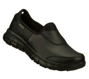 Skechers Women Work Sure Track Relax Fit Slip Resistant Memory Foam Black 76536