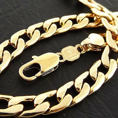 BRACELET CUFF BANGLE GENUINE REAL 18K YELLOW G//F GOLD SOLID MENS HEAVY CURB LINK