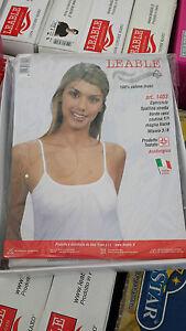 6-Leable-Donna-Canottiera-Spalla-Stretta-Spalla-Larga-100-Cotone-bianco-e-Nero