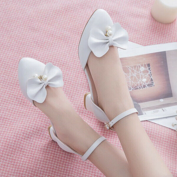 Lolita Ladies Chunky Heels Ankle Strap Mary Jane Bow Tie Casual Party shoes New