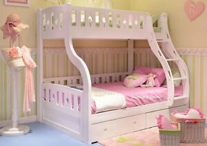 White Wooden Triple Bunk Bed With Drawers New Double Bunks Ebay