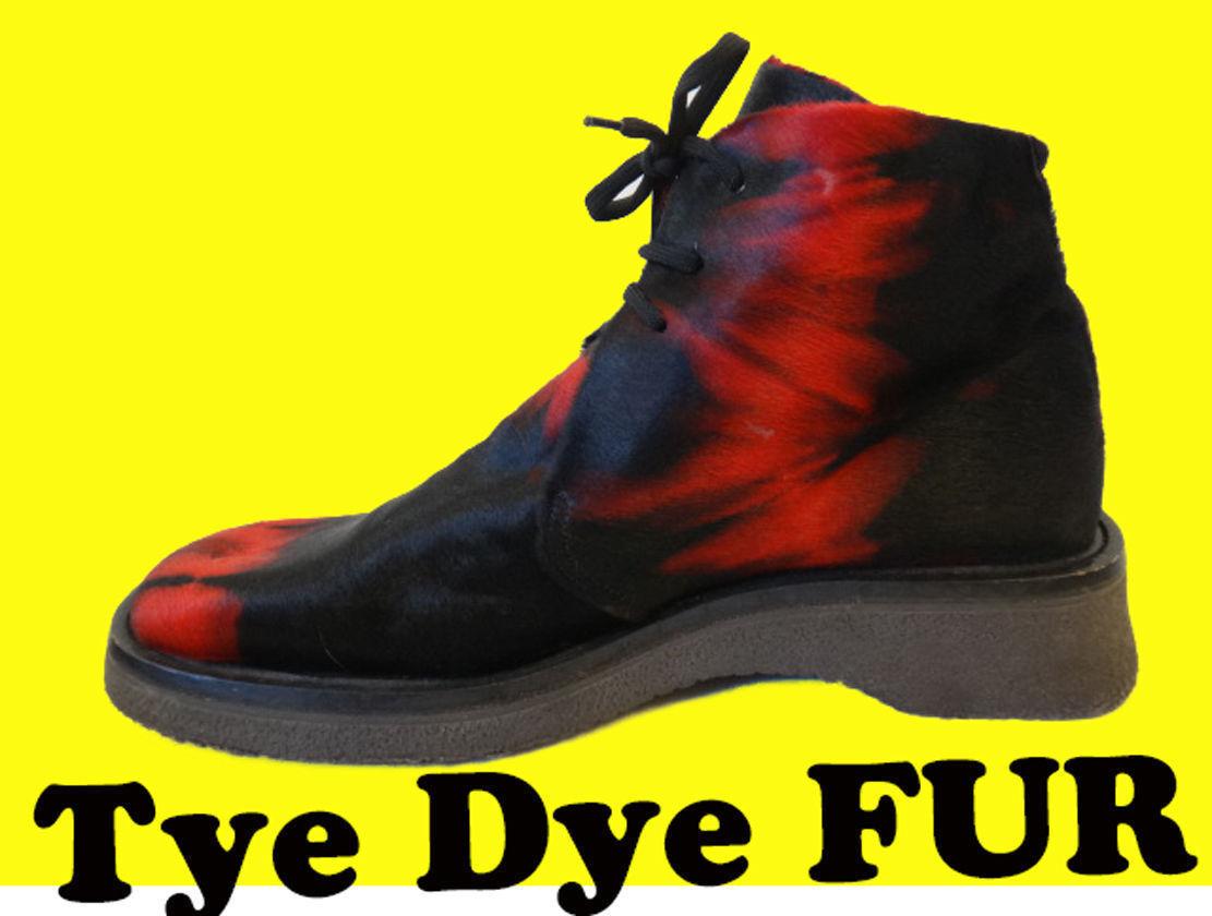 Casino calf FUR schuhe 44 10.5 11 Tye tie dye PUNK ENRICO FANtini clown rot flame