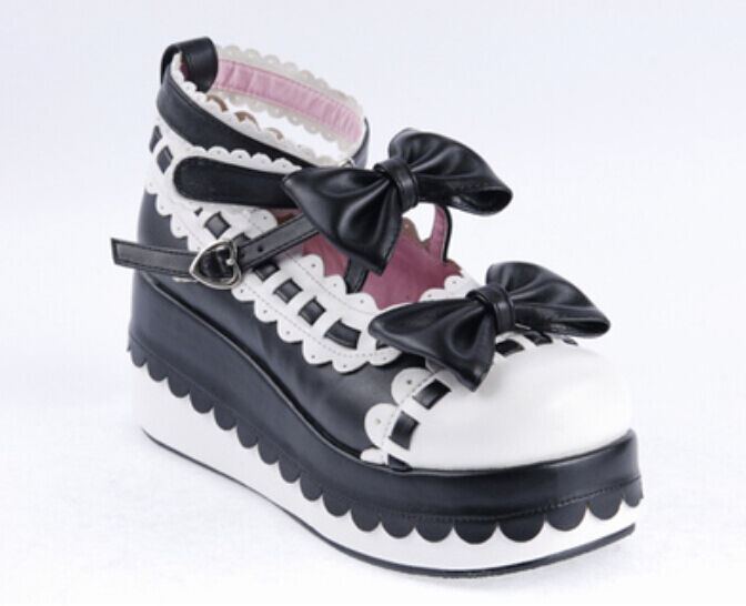 2016 Womens Wedge Heel Pump Mary Janes Bowknot Platform Lolita Cosplay Shoes Hot