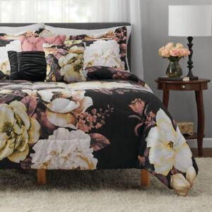 Black Floral Comforter Set Flowers Bedspread Bedding Pillowcase Multiple Sizes Ebay