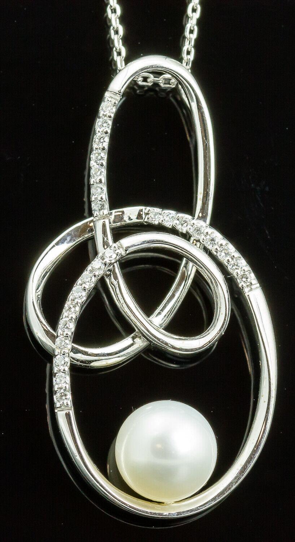 18K White gold Freeform Pearl and Diamond Pendant