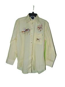 Las-Olas-Carousel-Horse-Button-Front-Long-Sleeve-Shirt-Small-Women-Yellow
