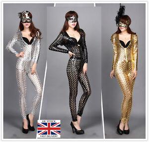 Women-Long-Sleeves-Zipper-Sexy-Wet-Look-Costume-Catsuit-Bodysuit-Clubwear-2596
