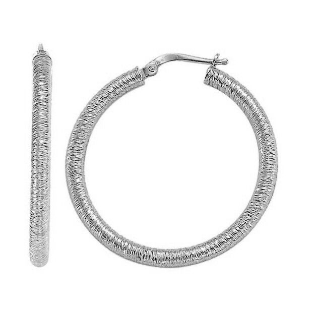 Textured Lining Hoop Earrings 14K Solid White gold 3mm x 25mm 1