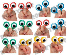 (12) Finger Wiggly EYE Puppet Ring SET OF 12 Magic Trick Joke Gag Clown RM1399