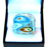 Bohemian Vintage Style Turquoise Abstract Flower Hand Blown Glass Ring Size 9.75