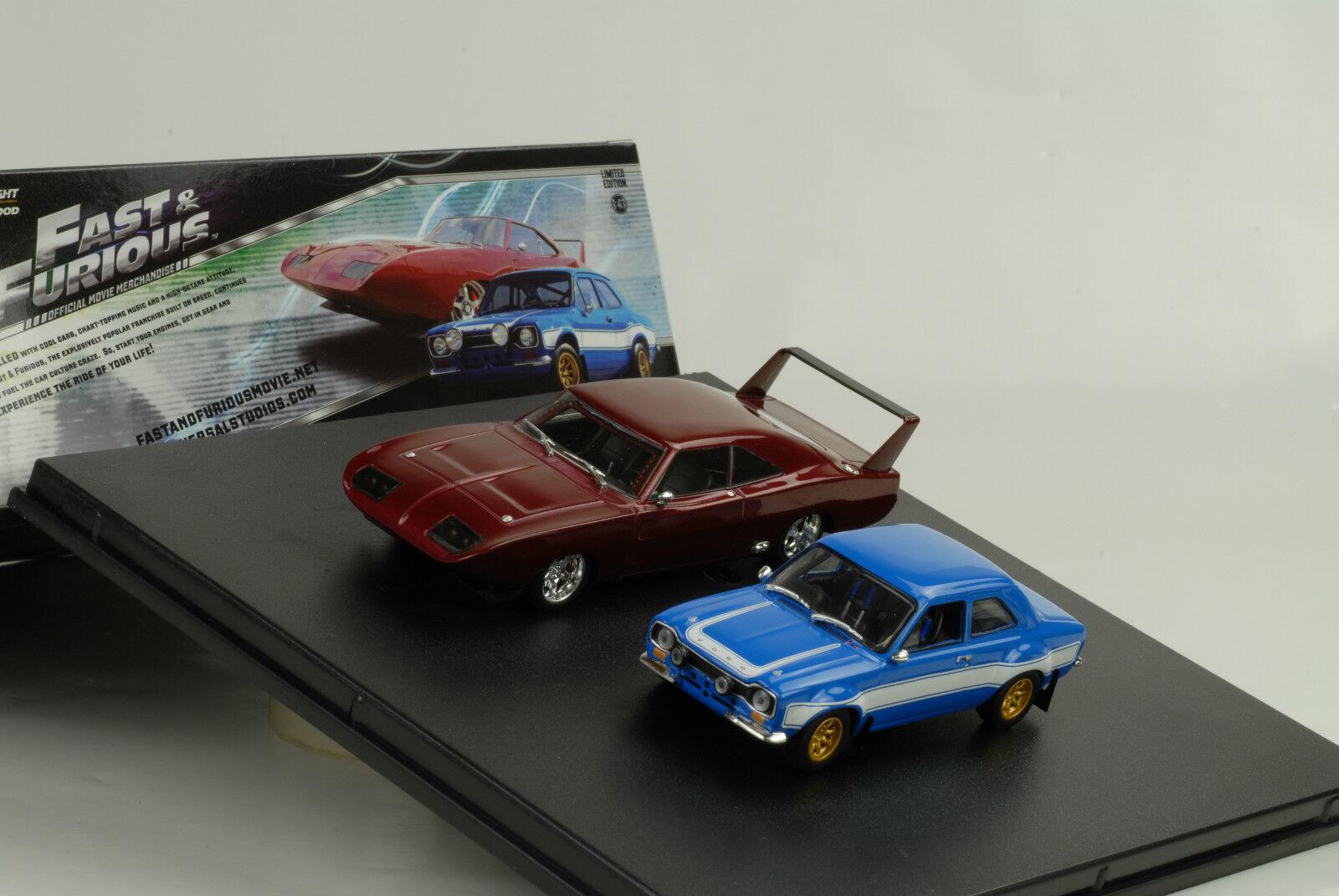 Movie presque & & & and Furious 6 2 car set Escort Charger Daytona 1 43 vertlight fa09ce
