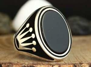 2 Tone Ring Mens Black Ring Handmade Black Onyx Ring Statement Ring for Him Mens Black Onyx Signet Ring Handmade Gemstone Ring Handmade 925 Sterling Silver Jewelry Mens Black Onyx Ring