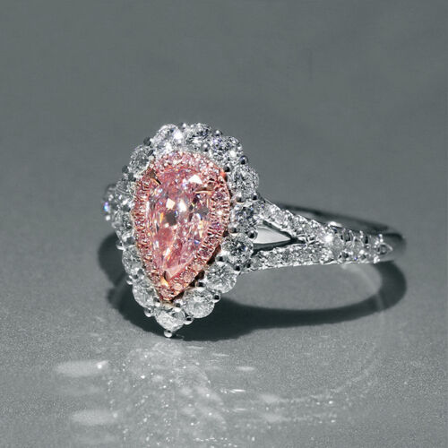 Pink Sapphire Pear shaped Vintage Antique Style Women Engagement Ring R187