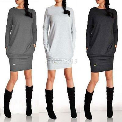 New Women's Casual Pullover Dress Long Sleeve Warm Sweater Top Shirt Tracksuit