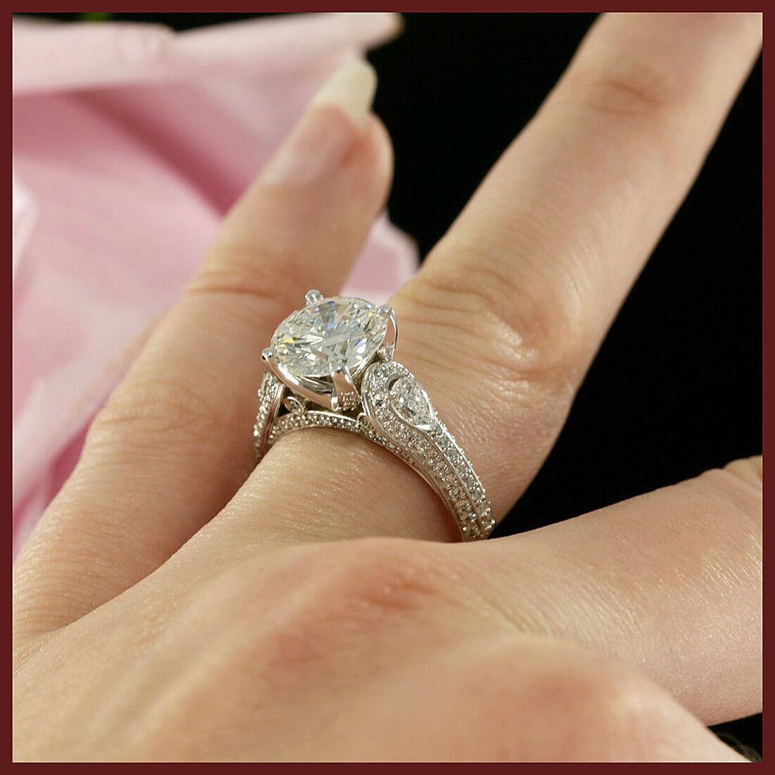 2.50Ct Ladies Bridal Round Cut Diamond Engagement Wedding Ring 14K White gold