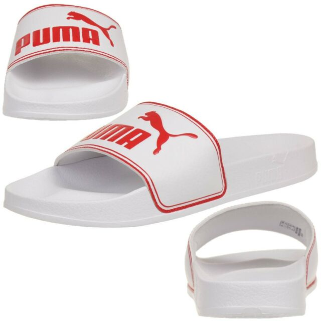 PUMA Leadcat Unisex Adult Sandals Bath Slippers White Red EUR 49 5 ... 03b3e12b3
