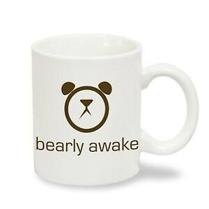 Bearly Awake Funny Mug Bear Alarm Clock White Coffee Mug Ebay